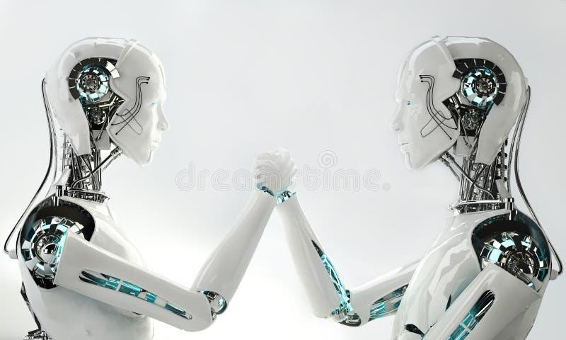 Het teamwerk van robot het androïde mensen
