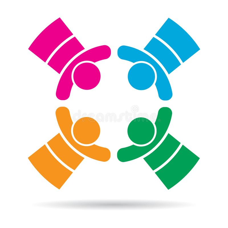 Het teamwerk vier mensen kleurrijk embleem stock illustratie