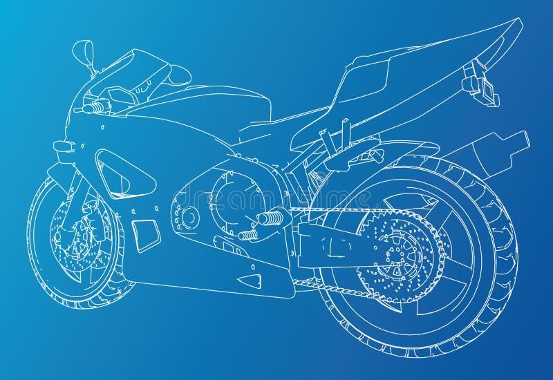 Het technische draad-kader van de sportmotorfiets EPS10 formaat Vector van 3d wordt gecreeerd die stock illustratie