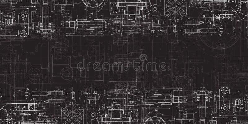 Het technische Trekken op een zwarte achtergrond Werktuigbouwtekening stock illustratie