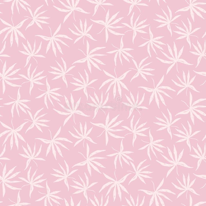 Het tedere roze hand getrokken patroon van inkt tropische bladeren royalty-vrije illustratie