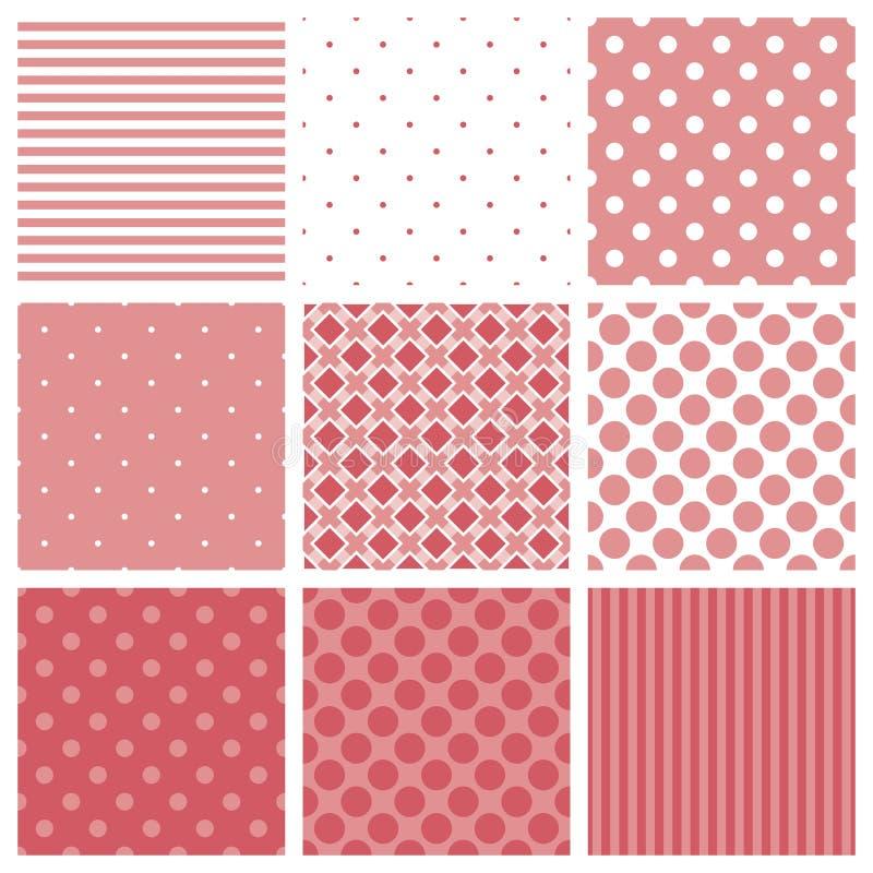 Het tegelpatroon plaatste met roze en witte plaid, strepen en stippenachtergrond stock illustratie