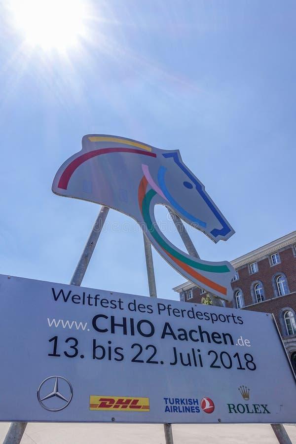 Het teken die het internationale paard aankondigen toont CHIO van Aken stock foto