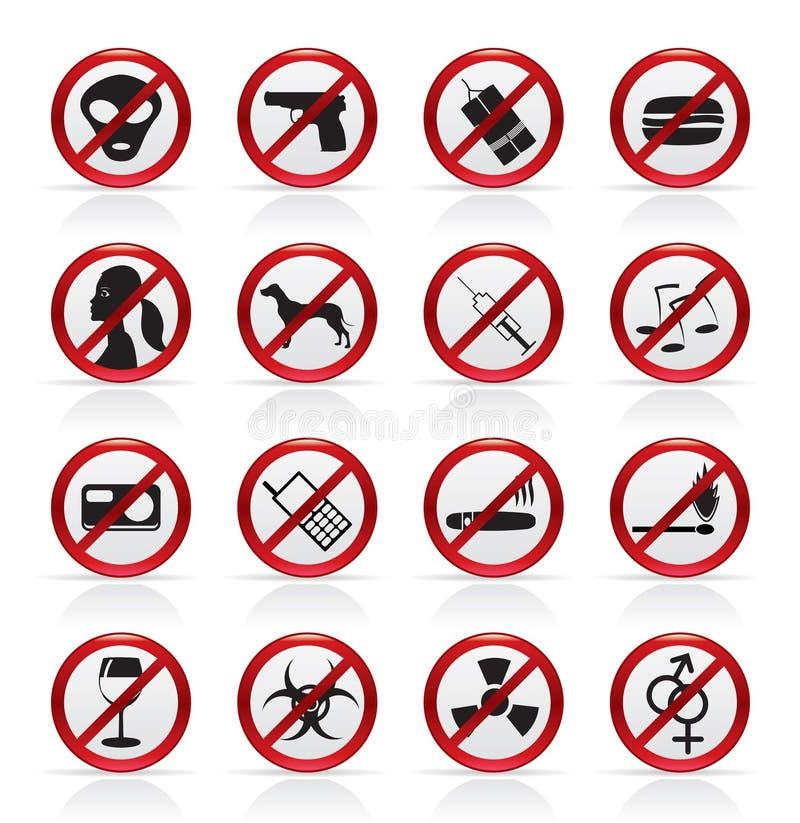 Het Teken en de pictogrammen van het verbod royalty-vrije illustratie