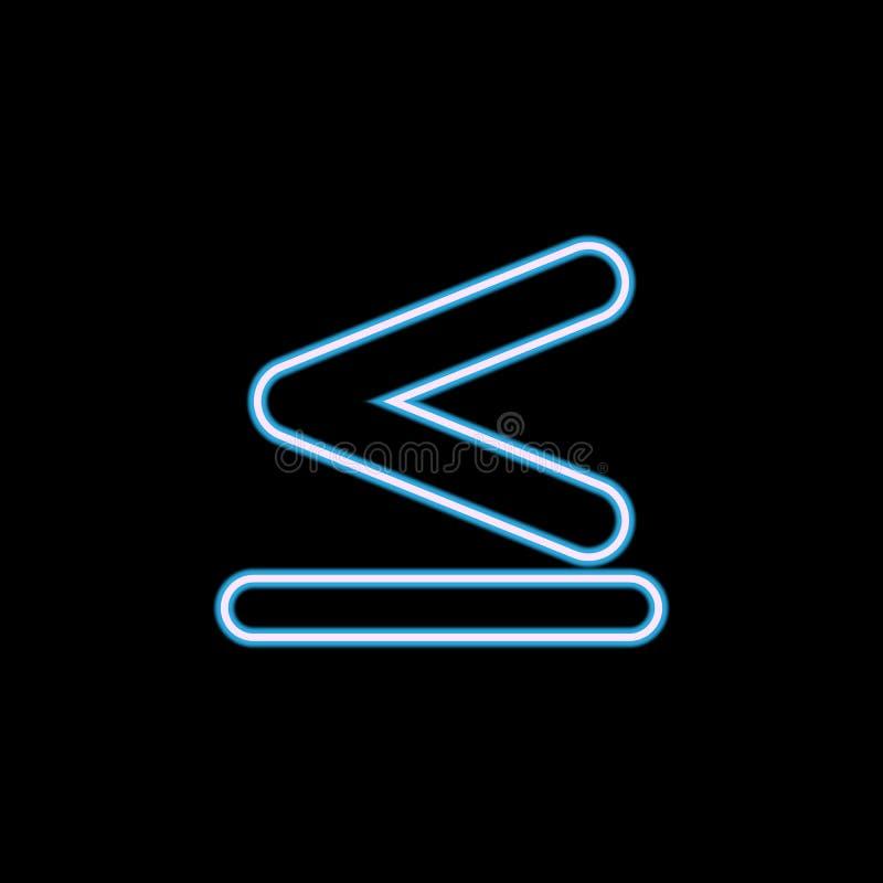 het teken is minder dan en gelijke aan pictogram in neonstijl Één van het pictogram van de Webinzameling kan voor UI, UX worden g stock illustratie