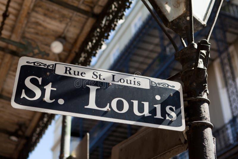 Het Teken New Orleans van de Straat van het Saint Louis stock afbeeldingen