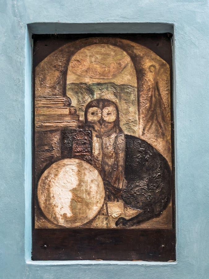 Het teken op muur van Mevrouw de winkel van de Thebe ` s in Gouden Steeg stock foto's