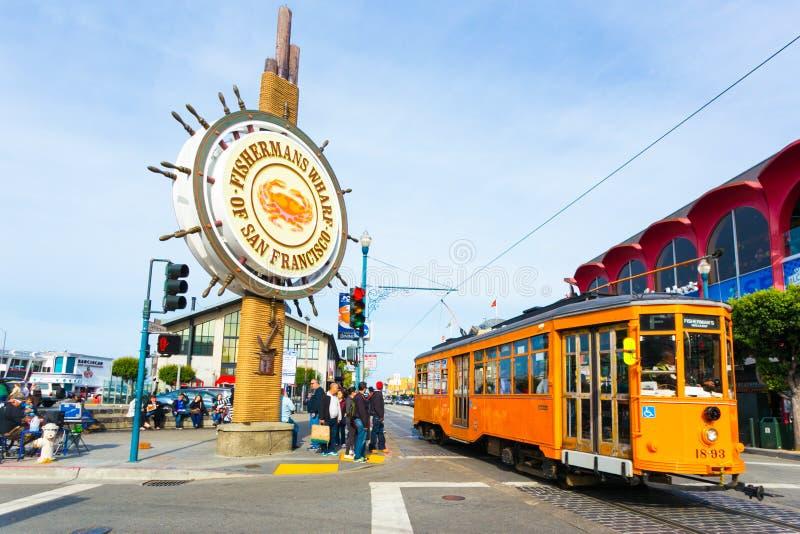 Het Teken San Francisco Cable Car van de vissers` s Werf stock foto's