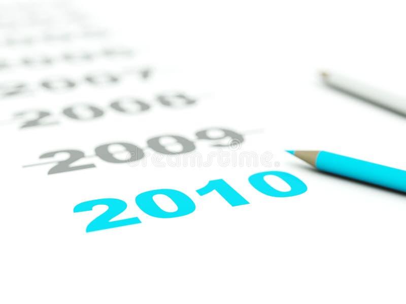 het teken van 2010 met potloden vector illustratie