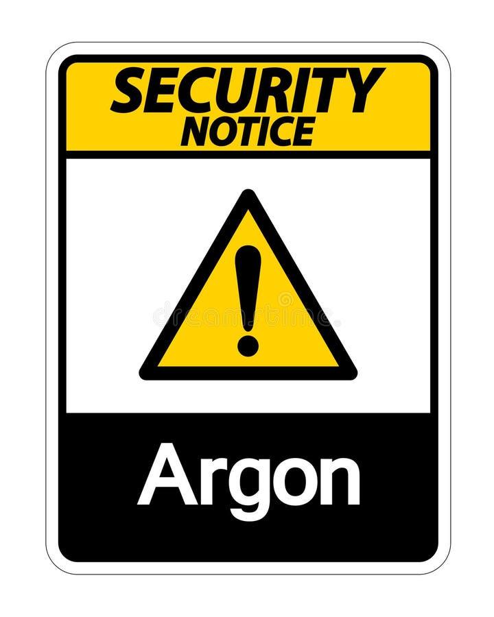 Het Teken van het het Argonsymbool van het veiligheidsbericht op Witte Achtergrond, Vectorillustratie vector illustratie