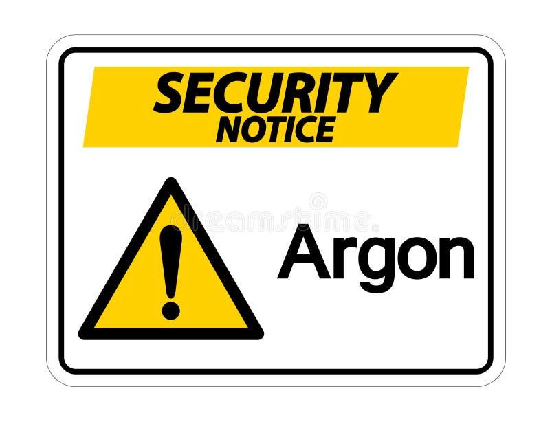 Het Teken van het het Argonsymbool van het veiligheidsbericht op Witte Achtergrond, Vectorillustratie stock illustratie
