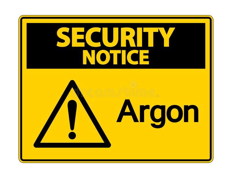 Het Teken van het het Argonsymbool van het veiligheidsbericht op Witte Achtergrond, Vectorillustratie royalty-vrije illustratie