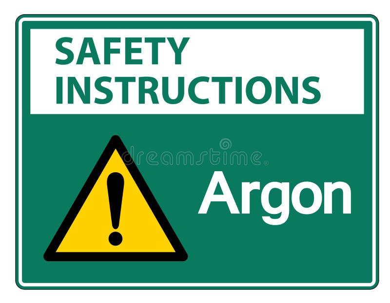 Het Teken van het het Argonsymbool van veiligheidsinstructies isoleert op Witte Achtergrond, Vectorillustratie vector illustratie