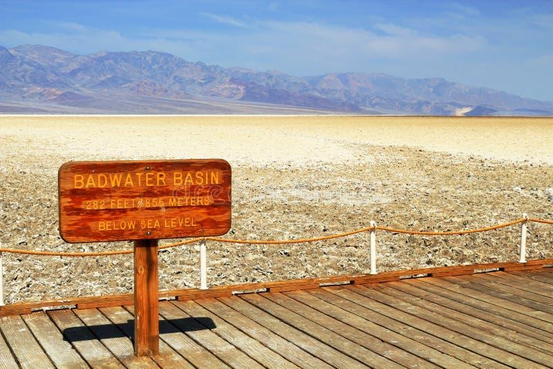 Het Teken van het Badwaterbassin in het Nationale Park van de Doodsvallei, Californië royalty-vrije stock foto