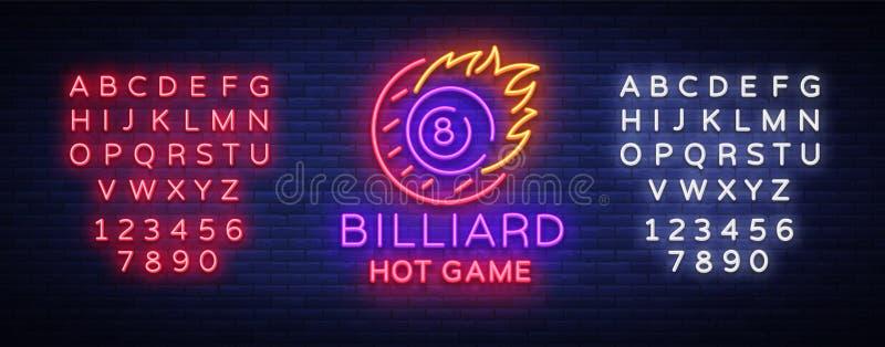 Het teken van het biljartneon Embleem van het biljart het Hete spel in neonstijl, lichte banner, het heldere biljart van de het e vector illustratie