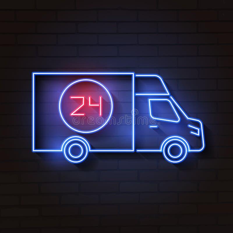 Het teken van het busneon Nacht heldere reclame Vector illustratie vector illustratie