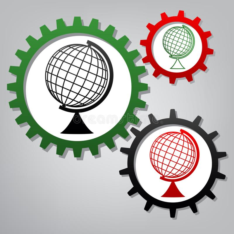 Het teken van de aardebol Vector Drie verbonden toestellen met pictogrammen bij gr. vector illustratie
