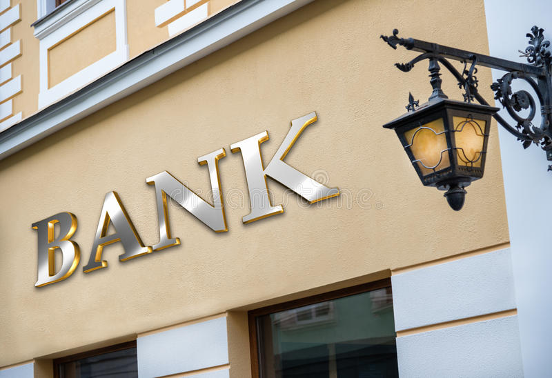 Het teken van de bank bij de bouw royalty-vrije stock foto's