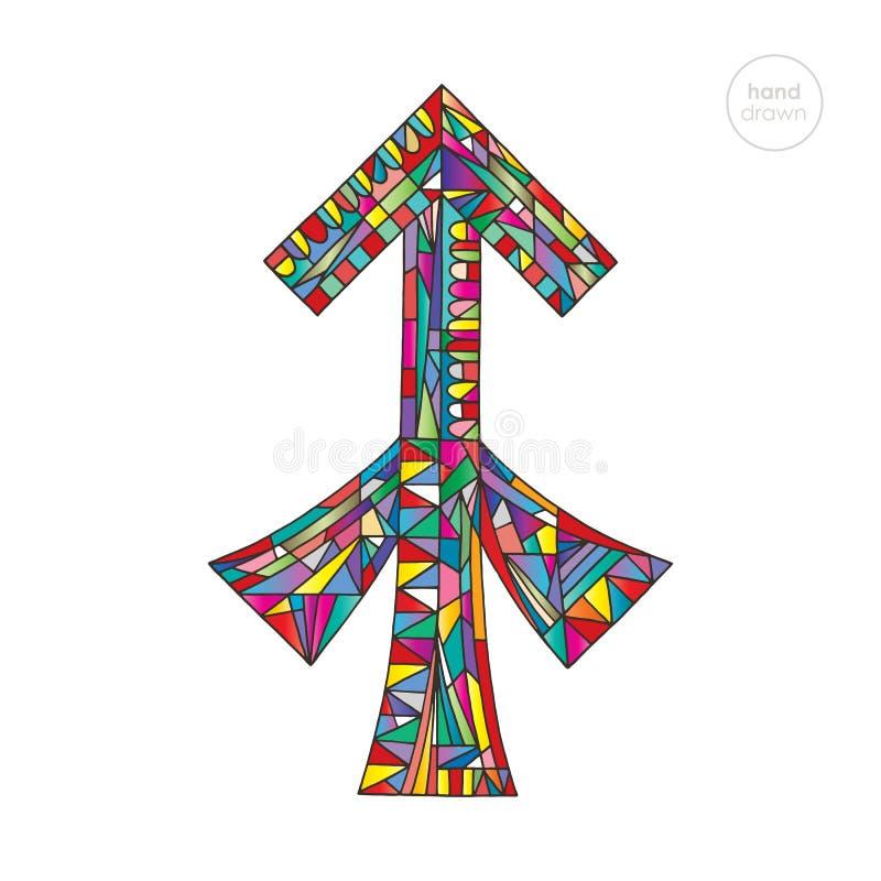Het teken van de Boogschutterdierenriem De illustratie van de horoscoop Astrologische hand getrokken reeks Kleurrijk helder magis stock illustratie