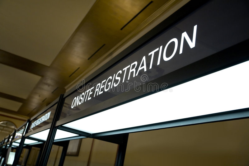 Het Teken van de Cabine van de registratie stock fotografie