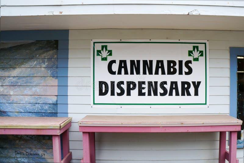 Het teken van de cannabisapotheek stock fotografie