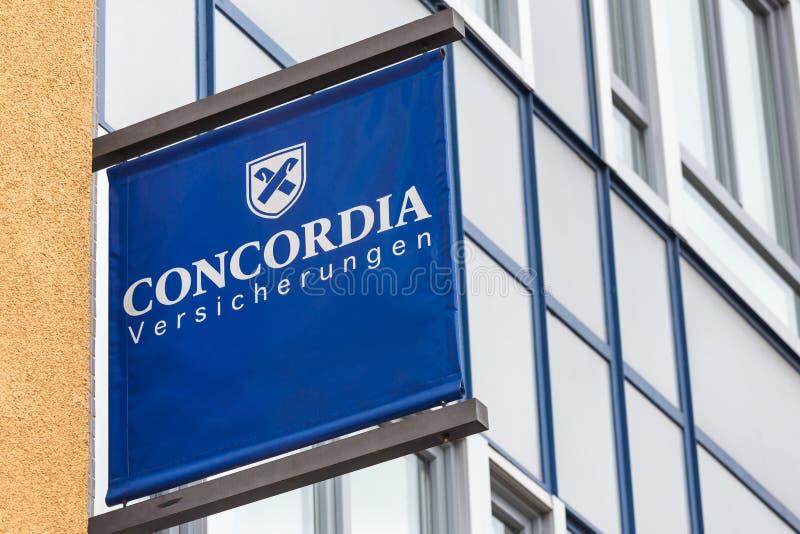 Het teken van de Concordiaverzekering in siegburg Duitsland stock fotografie