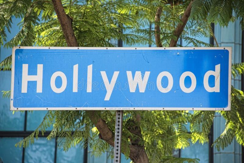 Het teken van de de Boulevardstraat van La Hollywood stock foto