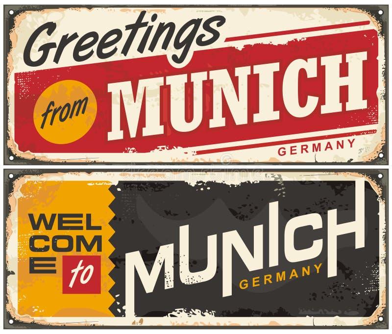 Het teken van de de reisherinnering van München Duitsland royalty-vrije illustratie