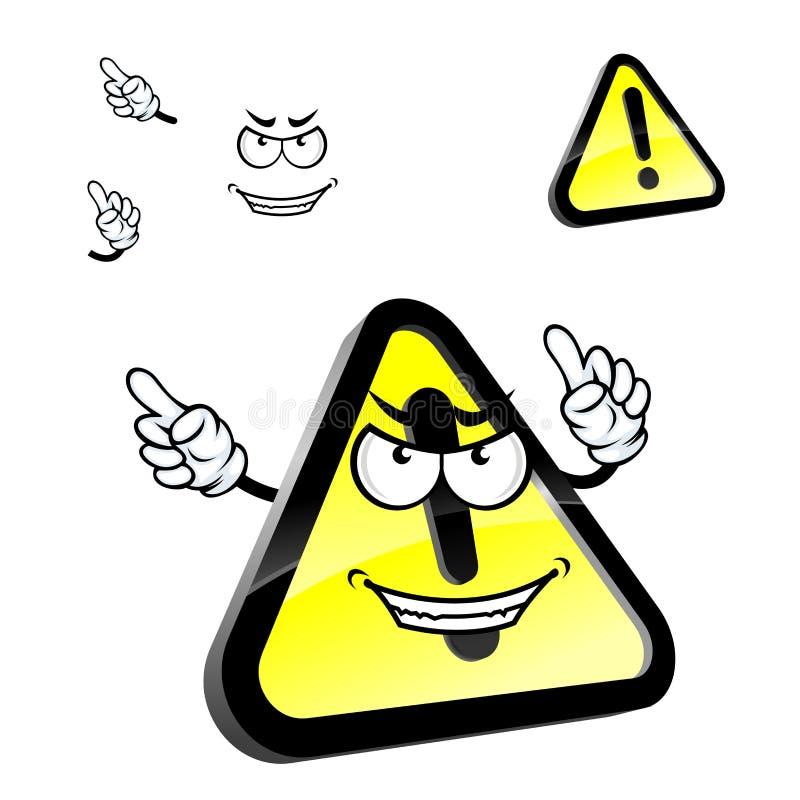 Het teken van de de waarschuwingsaandacht van het beeldverhaalgevaar vector illustratie