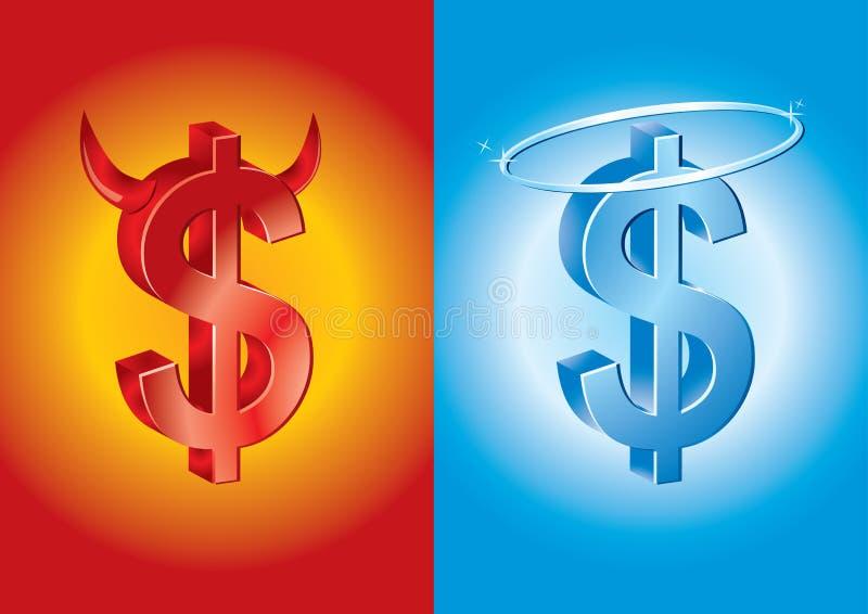 Het teken van de dollar als duivel en engel stock illustratie