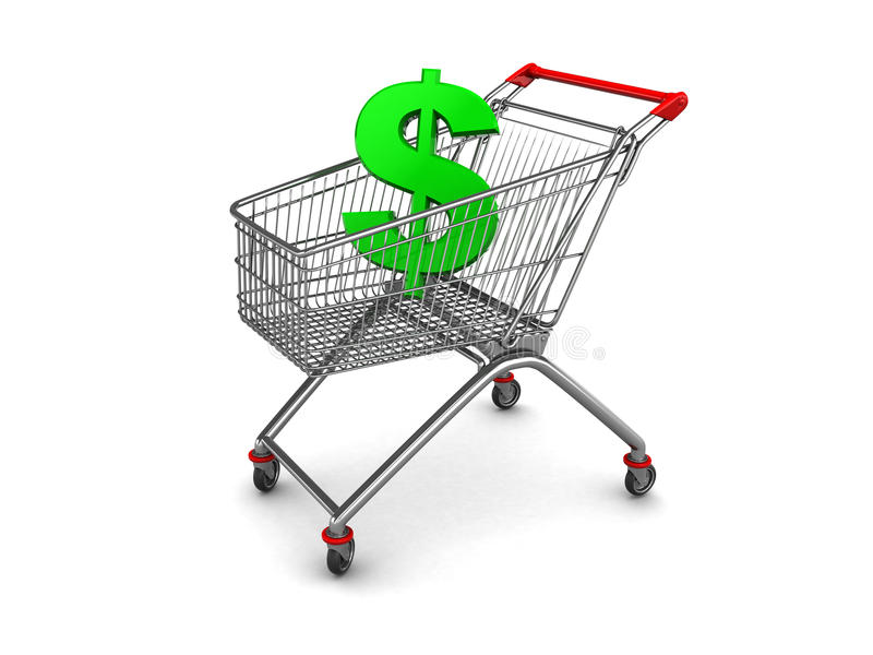 Het teken van de dollar in boodschappenwagentje royalty-vrije illustratie