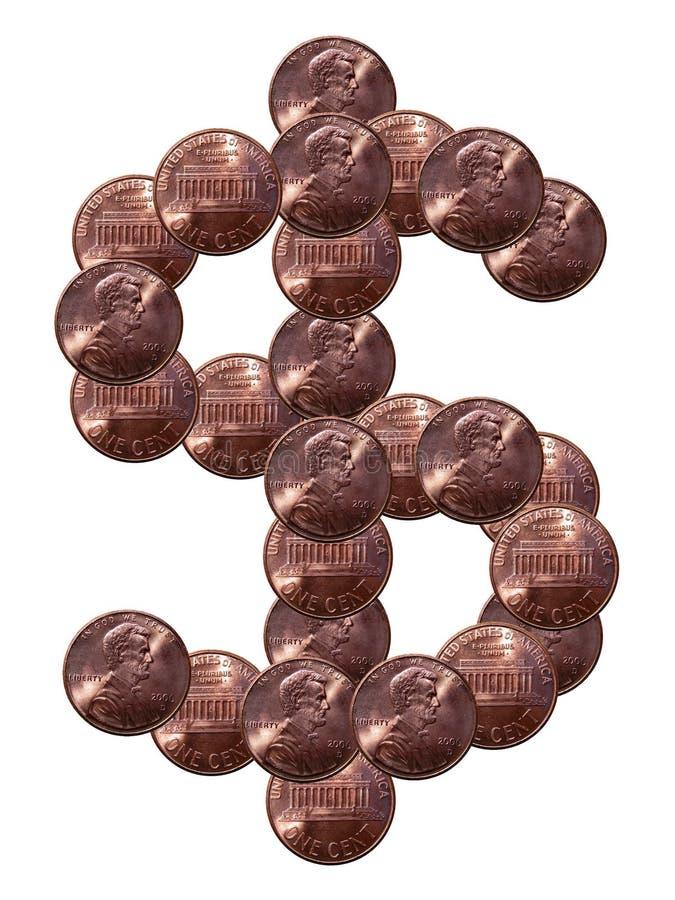 Het teken van de dollar dat van muntstukken wordt gemaakt royalty-vrije stock foto
