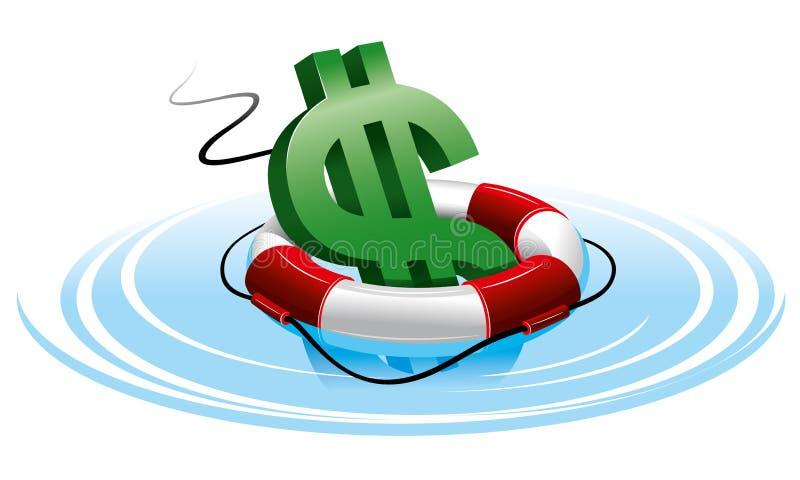 Het teken van de dollar in de reddingsboei royalty-vrije illustratie