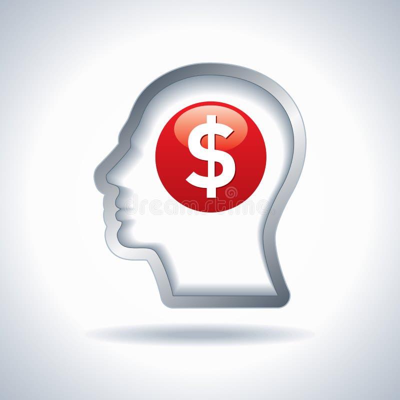 Het teken van de dollar in een hoofd het Denken Geld stock illustratie