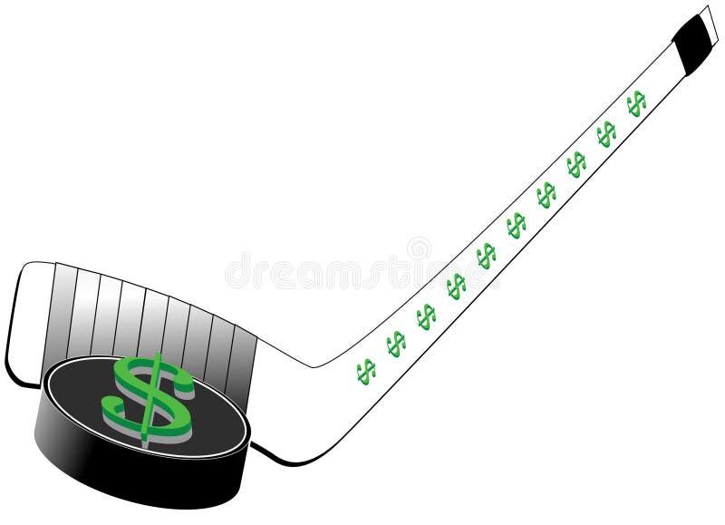 Het Teken van de dollar op de Puck en de Stok van het Hockey royalty-vrije stock foto