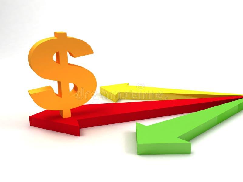 Het teken van de dollar op pijlen royalty-vrije illustratie