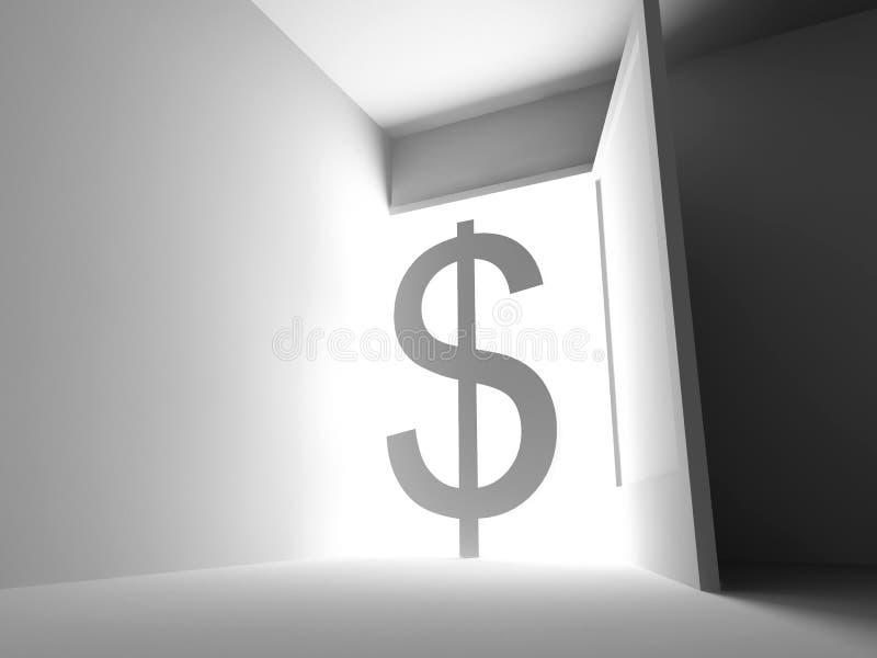 Het teken van de dollar in ruimte royalty-vrije illustratie