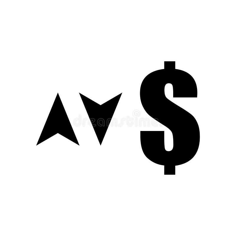 Het teken van de dollarmunt met boven en beneden het het vectordieteken en symbool van het pijlenpictogram op witte achtergrond,  stock illustratie