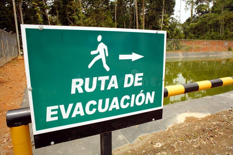 Het teken van de evacuatie royalty-vrije stock fotografie