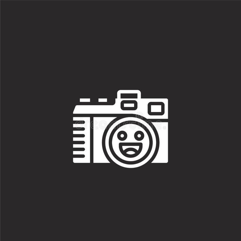 Het teken van de fotocamera op een witte achtergrond Gevuld camerapictogram voor websiteontwerp en mobiel, app ontwikkeling camer stock illustratie