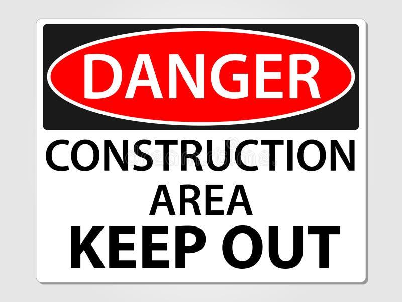 Het teken van de gevaarsbouw op een grijze achtergrond stock illustratie