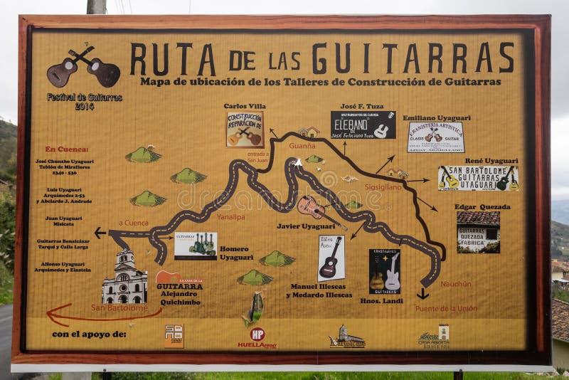 Het teken van de gitaarroute in Ecuador royalty-vrije stock afbeeldingen