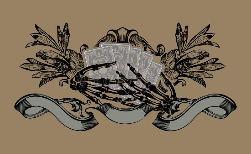 Het Teken van de gokker. De Handen van het skelet. Speelkaarten. royalty-vrije illustratie