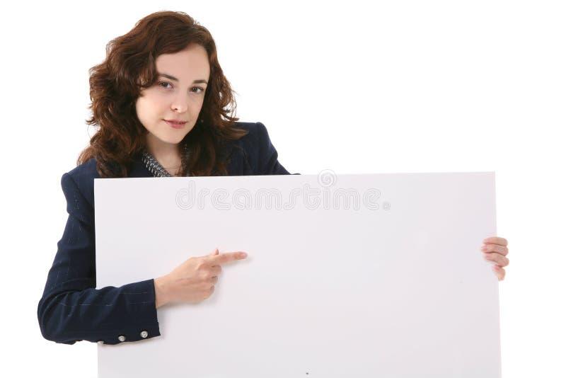 Het Teken van de Holding van de vrouw stock afbeelding