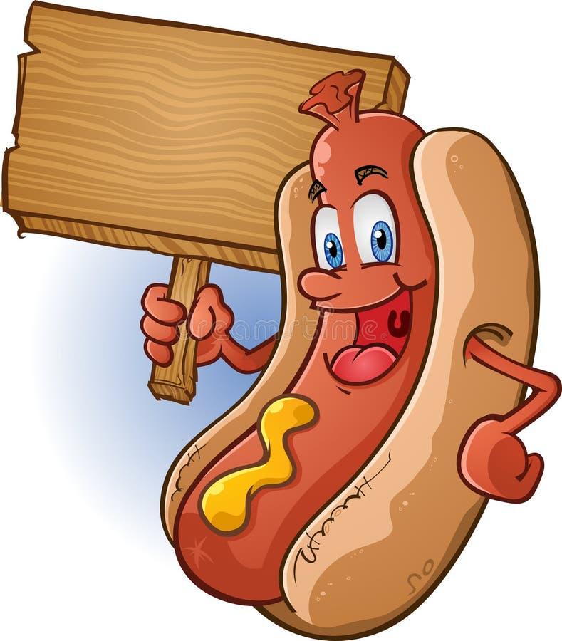 Het Teken van de Holding van het Karakter van de hotdog vector illustratie