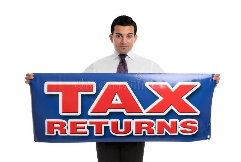 Het teken van de holdingsbelastingaangiften van de mens stock foto