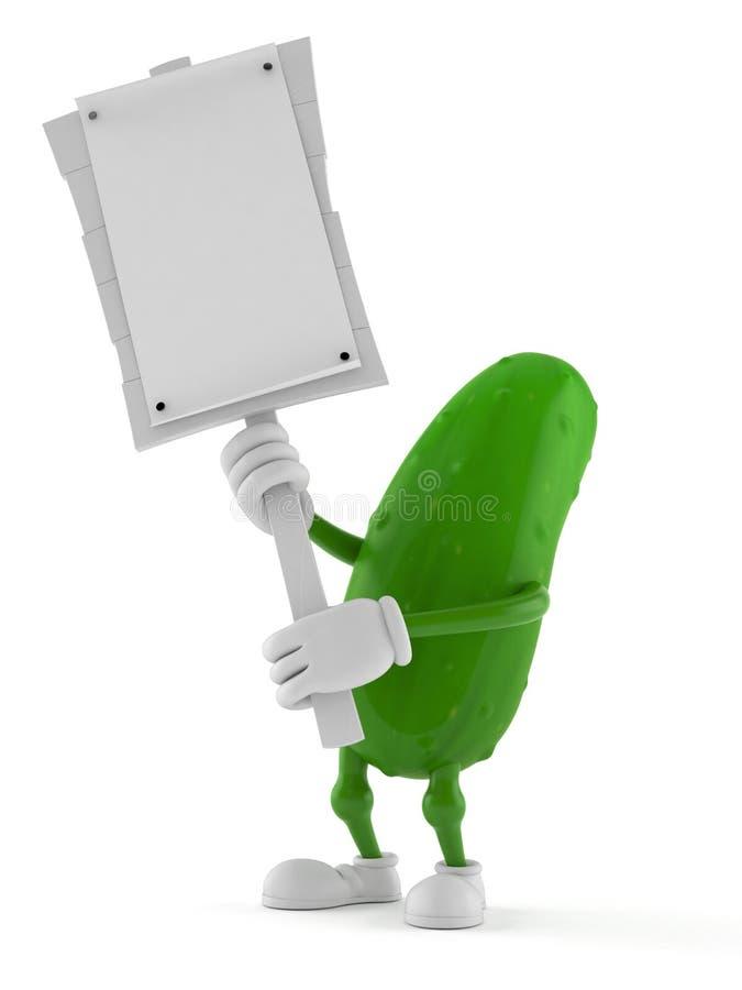 Het teken van het de holdingsprotest van het komkommerkarakter vector illustratie