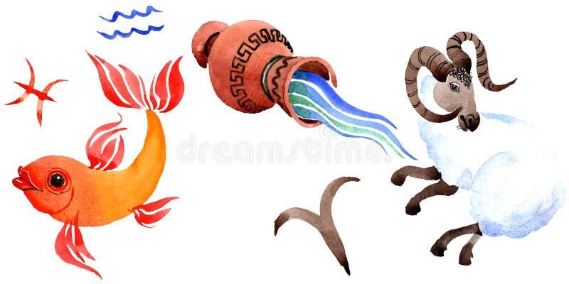 Het teken van de horoscoopdierenriem, astrologiesymbool Van de achtergrond waterverf reeks Het geïsoleerde element van de dierenr vector illustratie