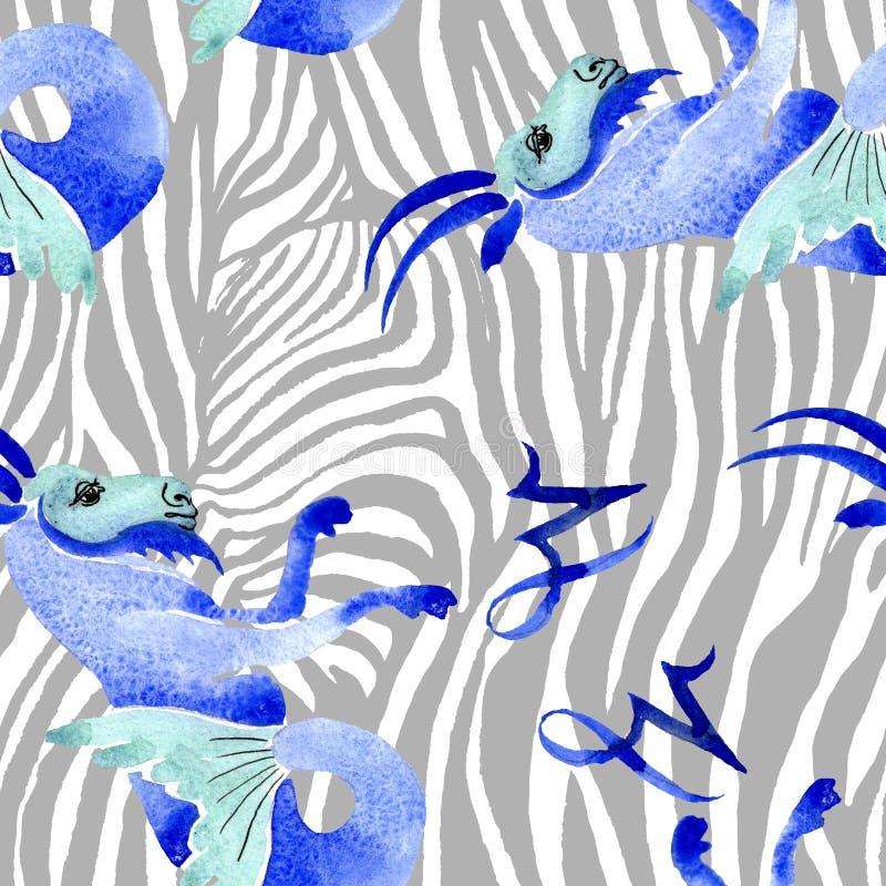 Het teken van de horoscoopdierenriem, astrologiesymbool De reeks van de waterverfillustratie Naadloos patroon als achtergrond vector illustratie