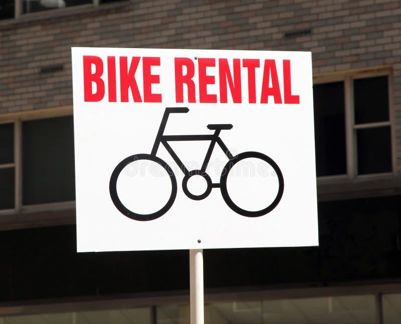 Het Teken van de Huur van de fiets. stock afbeeldingen